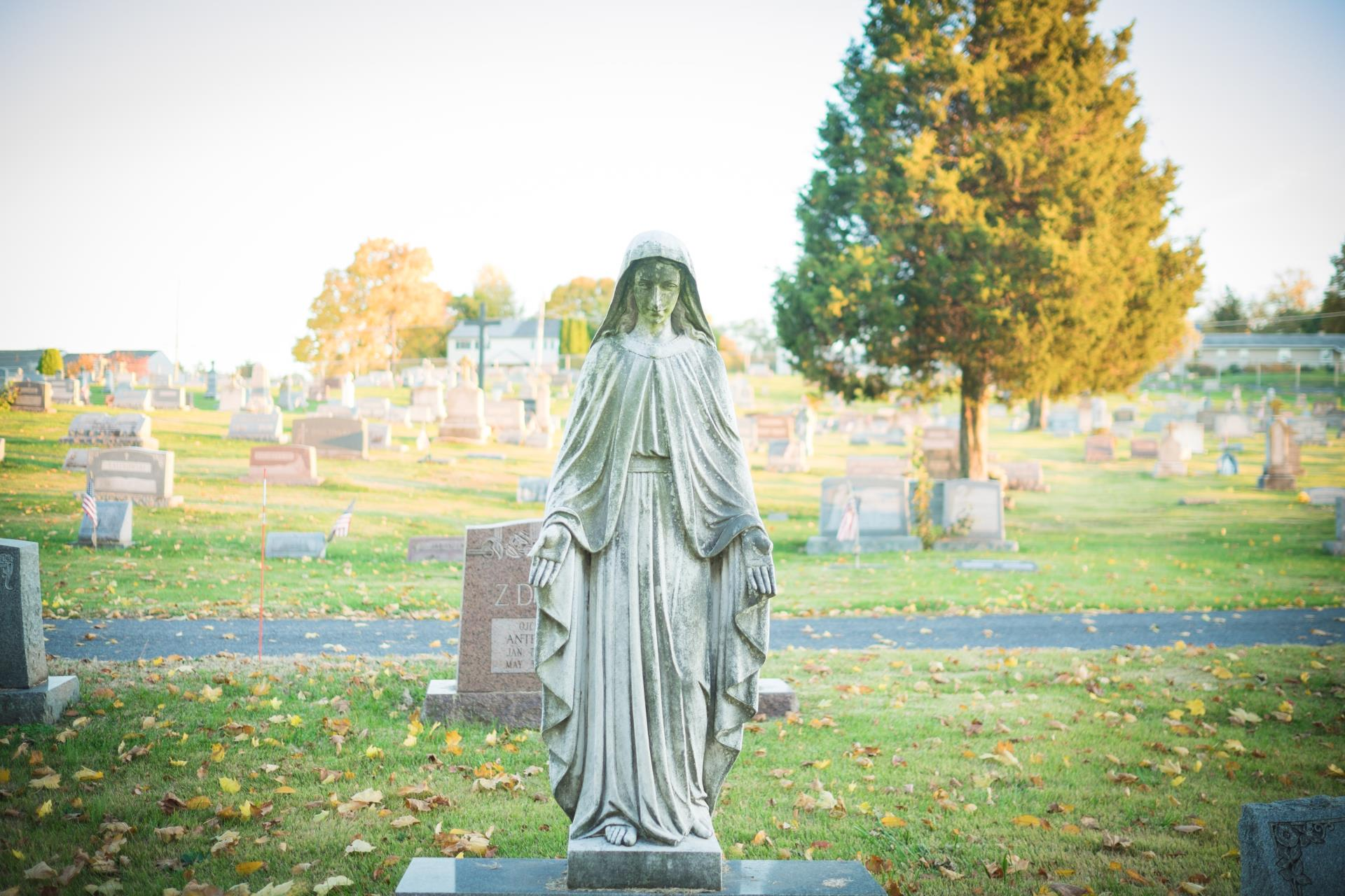 Statue of Mary at St Marys Cemetery